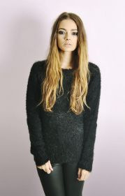 Fluffy Long Sleeve Jumper In Black
